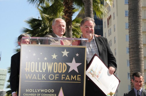 L.A. City Councilman Tom LaBonge says a few kind words about THE SIMPSONS Creator and Executive Producer Matt Groening during the Star Dedication on the Hollywood Walk of Fame Tuesday, Feb. 14 in Hollywood, CA.  THE SIMPSONS © 2012 TCFFC ALL RIGHTS RESERVED. CR: Scott Kirkland/FOX