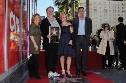 Cast members Nancy Cartwright, Yeardley Smith and Hank Azaria during the presentation of Executive Producer Matt Groening's Star on the Hollywood Walk of Fame Tuesday, Feb. 14 in Hollywood, CA. THE SIMPSONS © 2012 TCFFC ALL RIGHTS RESERVED. CR: Scott Kirkland/FOX