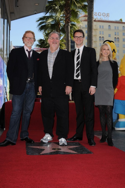 (L-R) President of Twentieth Century Fox Television Distribution, Creator and Executive Producer Matt Groening, FOX Networks Group Chairman of Entertainment Peter Rice and Gracie Films President of Worldwide Brand Denise Sirkot during the Matt Groening Star on the Hollywood Walk of Fame Presentation Tuesday, Feb. 14 in Hollywood, CA. THE SIMPSONS © 2012 TCFFC ALL RIGHTS RESERVED. CR: Scott Kirkland/FOX