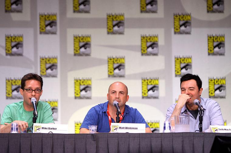 L-R: American Dad! creators Mike Barker, Matt Weitzman and Seth MacFarlane at SDCC 2011 [Photo: Gage Skidmore]