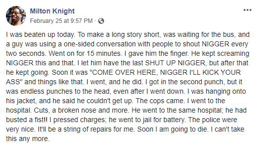 Milton Knight Facebook post