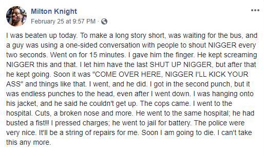 Milton Knight Facebook post