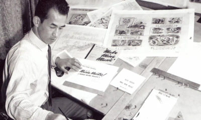 Milton Quon at work as the head of Disney's promo department, ca. 1946.