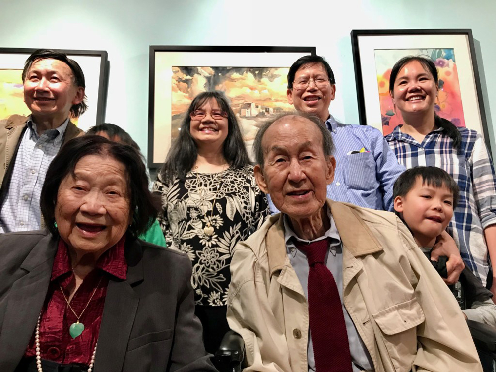 Milton Quon and his family at the opening of his exhibit at Art Salon Chinatown, June 2018 © TheMinistryOfCulture.com