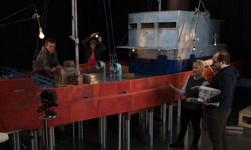LAIKA animators work on the boat sequence from Golden Globe winning & Oscar nominated 2019 feature Missing Link. [Courtesy LAIKA]