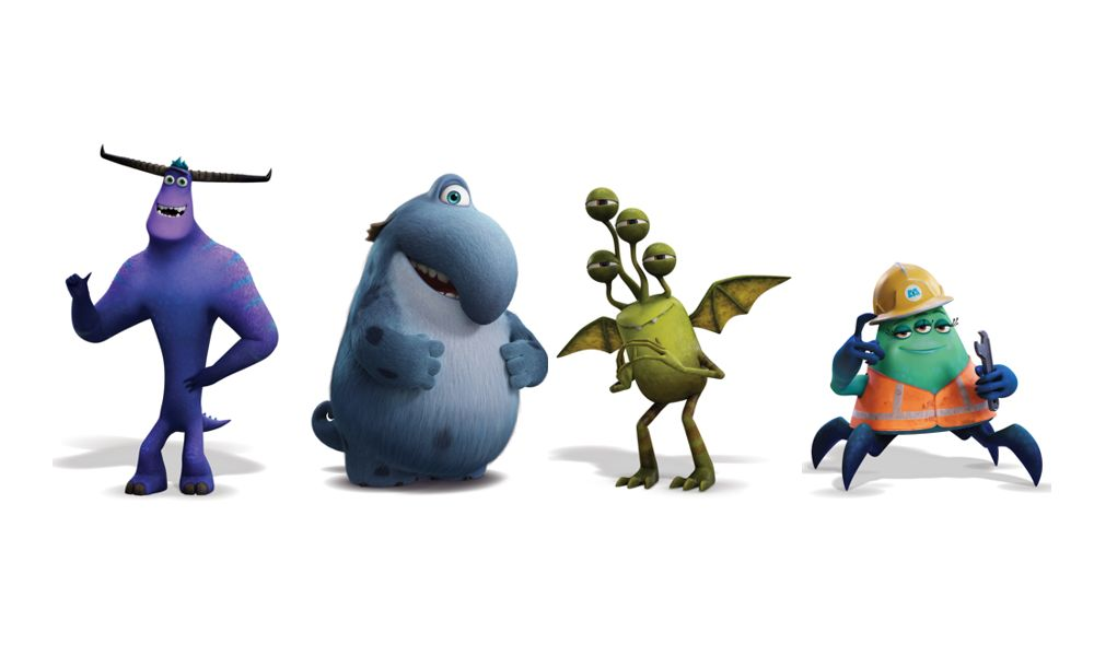 L-R: Tylor (Ben Feldman), Fritz (Henry Winkler), Duncan (Lucas Neff) & Cutter (Alanna Ubach), Monsters At Work