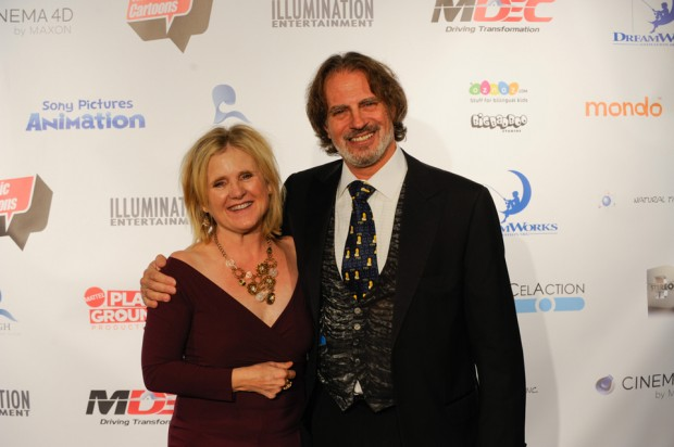 Nancy Cartwright and David Silverman (photo credit: Will Thoren)