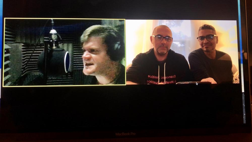 Voice actor Nick Murdock records via video chat with René and Donald.