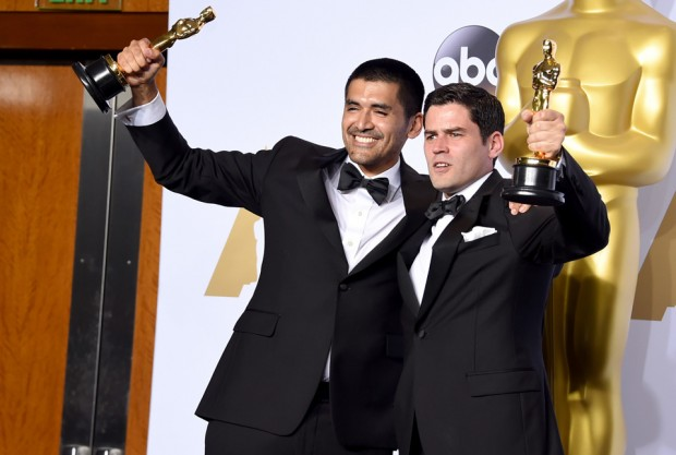 HOLLYWOOD, CA - FEBRUARY 28:  Director Gabriel Osorio Vargas (L) and producer Pato Escala Pierart, winners of Best Animated Short Film for 'Bear Story,' pose in the press room during the 88th Annual Academy Awards at Loews Hollywood Hotel on February 28, 2016 in Hollywood, California.  (Photo by Jason Merritt/Getty Images)