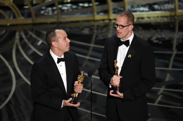 HOLLYWOOD, CA - FEBRUARY 28:  Producer Jonas Rivera (L) and director Pete Docter accept the Best Animated Feature Film award for 'Inside Out' onstage during the 88th Annual Academy Awards at the Dolby Theatre on February 28, 2016 in Hollywood, California.  (Photo by Kevin Winter/Getty Images)