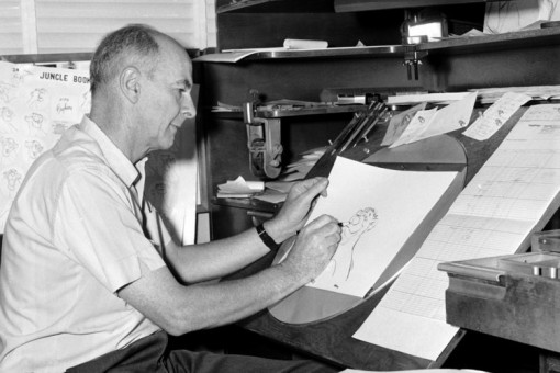 Walt Disney animator Ollie Johnston works on a drawing for Jungle Book.