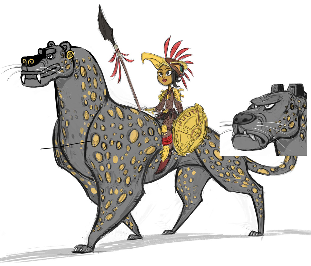 Color sketch of Maya and Chiapa by production designer Paul Sullivan
