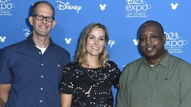 Pete Docter, Dana Murray and Kemp Powers at D23 Expo 2019. [Photo: Frazer Harrison/Getty]