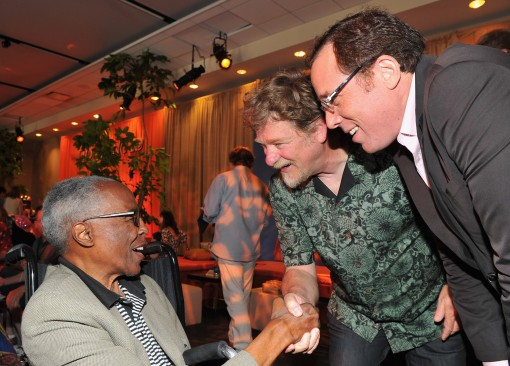"HOLLYWOOD, CA - AUGUST 27:  Actor Robert Guillaume, and co-directors Roger Allers and Rob Minkoff attend ""The Lion King"" Los Angeles 3D Premiere after party at the Annex at Hollywood & Highland on August 27, 2011 in Hollywood, California.  (Photo by Alberto E. Rodriguez/WireImage)"