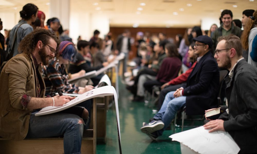 CalArts Character Animation students draw in their school gallery in pre-COVID times. [Photo: Rafael Hernandez]