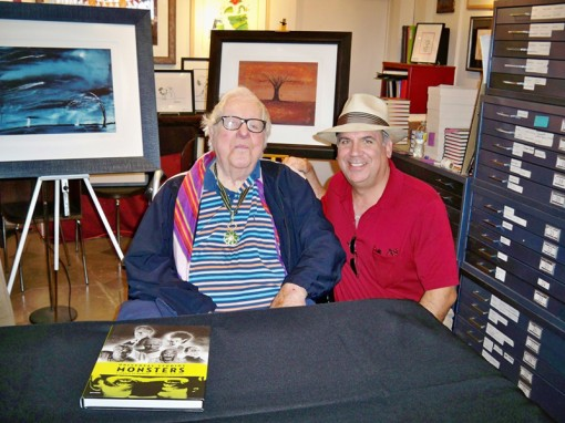Ray Bradbury (left) with blogger Michael Mallory (right)
