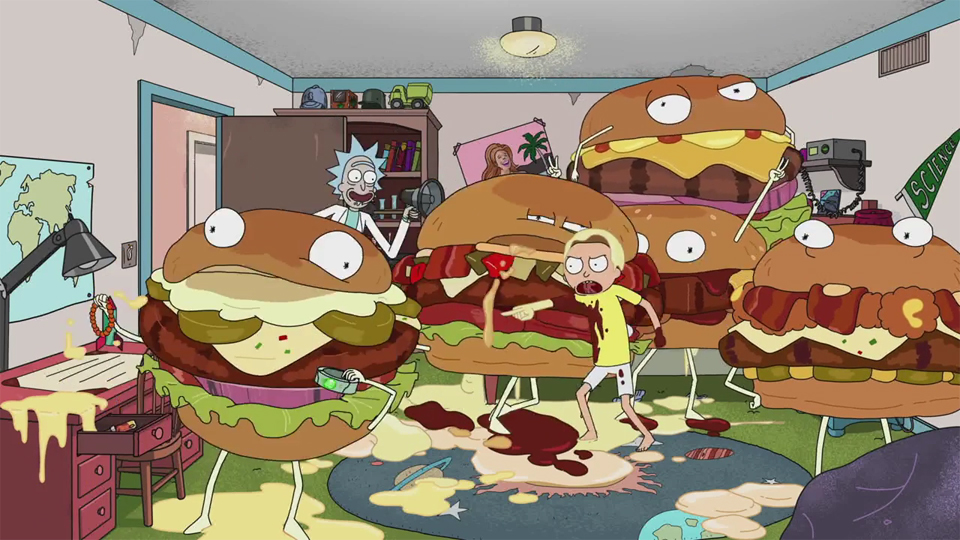 rick and morty plug carl s jr and hardee s in custom ads