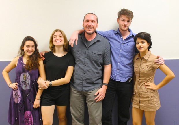 Photo depicts Creative Awards Winners from Miami's New World School of the Arts and their teacher, Christian Losa. Left to Right - Sabrina Diehl, Lisette Del Pino, Teacher Chris Losa, Ryan Haney and Alyson Del Pino. Photo by New World student Bleu Cremers.