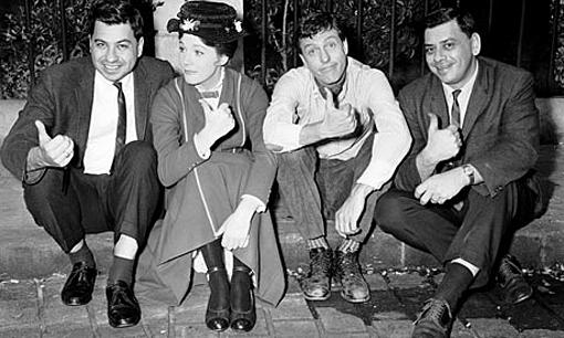 (from left) Richard Sherman, Julie Andrews, Dick Van Dyke and Robert Sherman