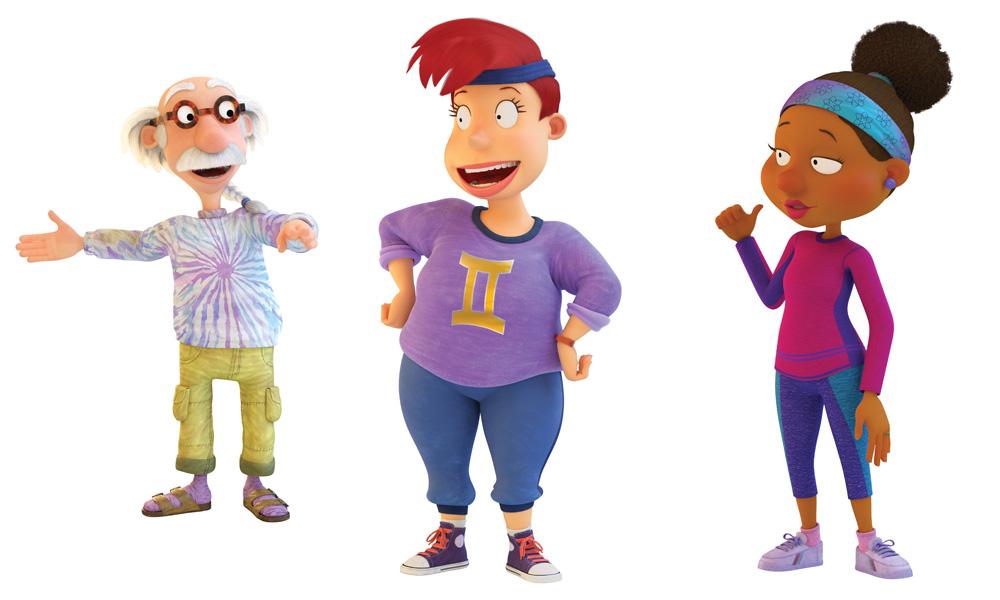 L-R: Grandpa Lou (voiced by Michael McKean), Betty DeVille (Natalie Morales) and Lucy Carmichael (Nicole Byer)