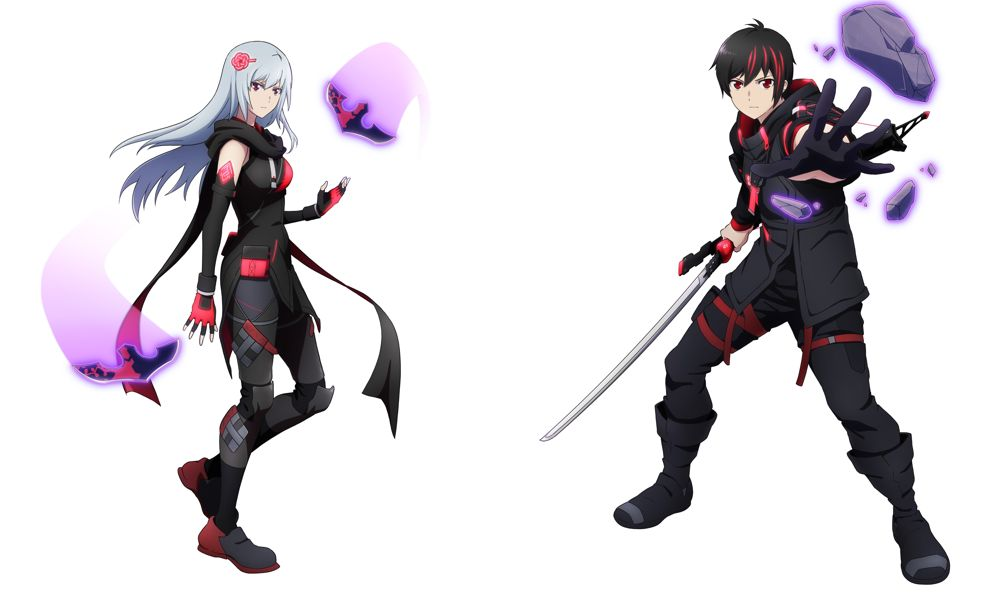 Scarlet Nexus - Kasane and Yuito character art.
