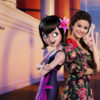 Selena Gomez poses with her character, Mavis, in a promotion image for Hotel Transylvania 3: Summer Vacation (2018)
