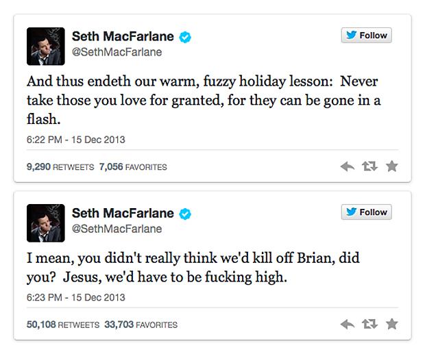 Seth MacFarlane's tweet