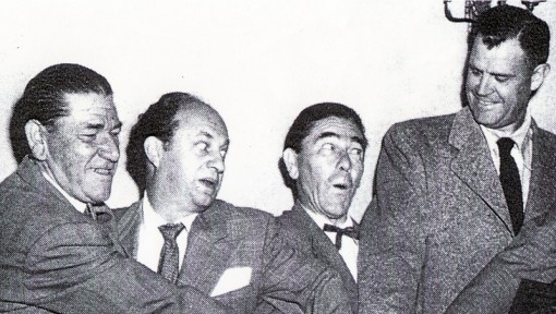 (Left to Right) Shemp, Larry, Moe and Ed Bernds