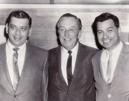 (from left) Robert Sherman, Walt Disney and Richard Sherman