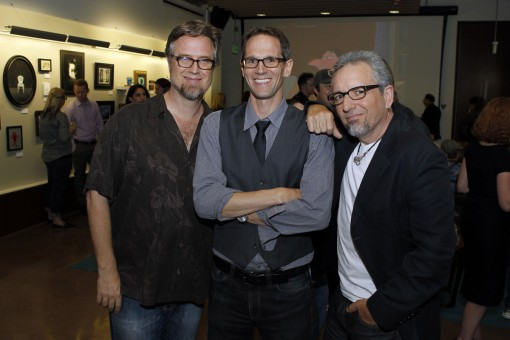 "DISNEY CHANNEL - Disney Television Animation hosts a fall art gallery themed ""Some Kind of Monster"" spotlighting submissions from its pool of talented creative artists, executives and staff at their offices in Glendale, Calif. (Thursday, October 18). (DISNEY CHANNEL/RICK ROWELL) DAN POVENMIRE (CREATOR AND EXECUTIVE PRODUCER OF DISNEY CHANNEL'S ANIMATED COMEDY SERIES ""PHINEAS AND FERB""), ERIC COLEMAN (SENIOR VICE PRESIDENT, DISNEY TELEVISION ANIMATION), SWAMPY MARSH (CREATOR AND EXECUTIVE PRODUCER OF DISNEY CHANNEL'S ANIMATED COMEDY SERIES ""PHINEAS AND FERB"")"