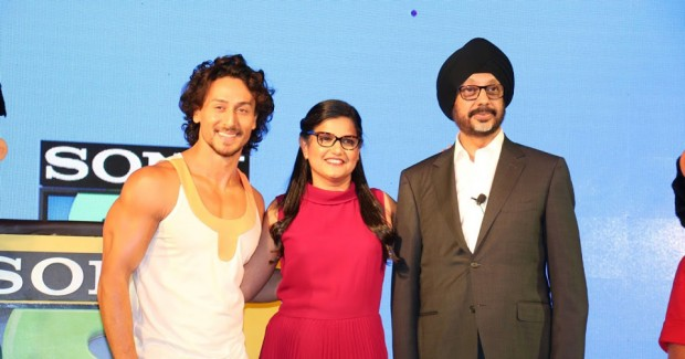 (L-R) Sony YAY!'s brand ambassador Tiger Shroff, head of business Leena Lele Dutta, and Sony Pictures Networks CEO N.P. Singh.