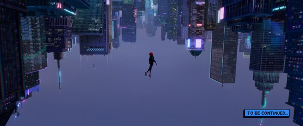 Miles Morales (Shameik Moore) falls through an alternate-universe New York City in Sony Pictures Animation's Spider-Man: Into the Spider-Verse.