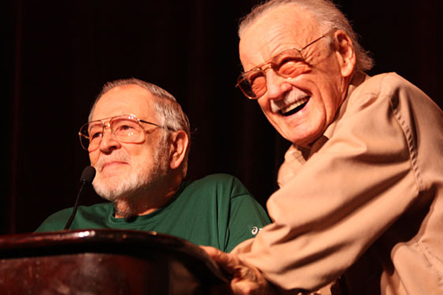 (from left) John Romita Sr. and Stan Lee