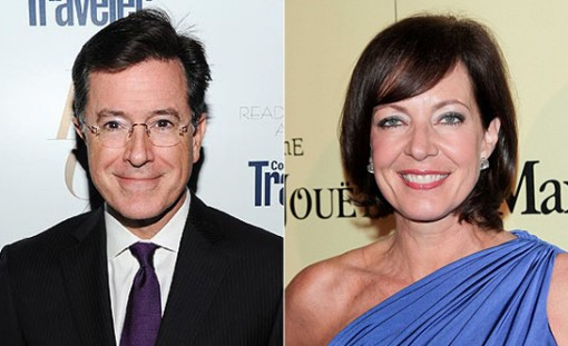(left) Stephen Colbert and (right) Allison Janney