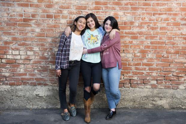 L-R: Spirit Riding Free voice stars Sydney Park, Amber Frank and Bailey Gambertoglio.
