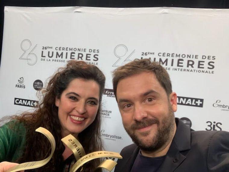 Josep composer Sílvia Pérez Cruz and director Aurel celebrate their Lumières Awards.