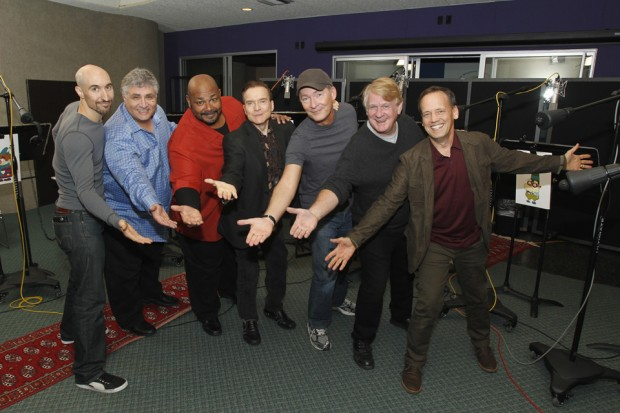 (from left) Scott Menville, Maurice Lamarche, Kevin Michael Richardson, Billy West, Stephen Stanton, Bill Farmer and Dee Bradley Baker play the dwarfs in Disney's The 7D.