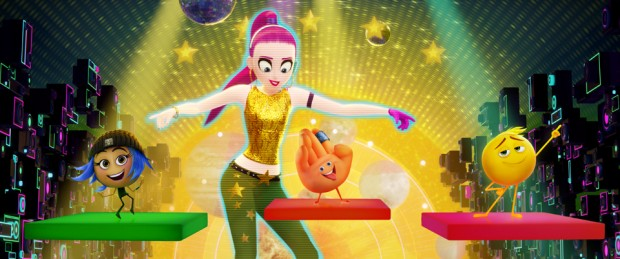 Akiko (Christina Aguilera), Jailbreak (Anna Faris), Hi-5 (James Corden) and Gene (T.J. Miller) in Columbia Pictures and Sony Pictures Animation's The Emoji Movie.