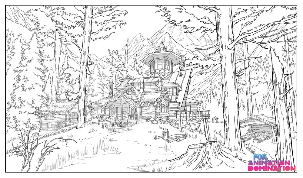 Production sketch of the Tobin family's rustic Alaskan home.