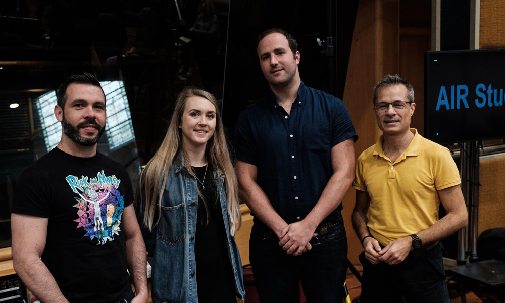 The Jellyfish animation team (L-R) Hollie Bell, Manuel Reyes Hallaby, composer Anthony Willis, and Head of Animation Luca Mazzoleni. Air Studios, London.