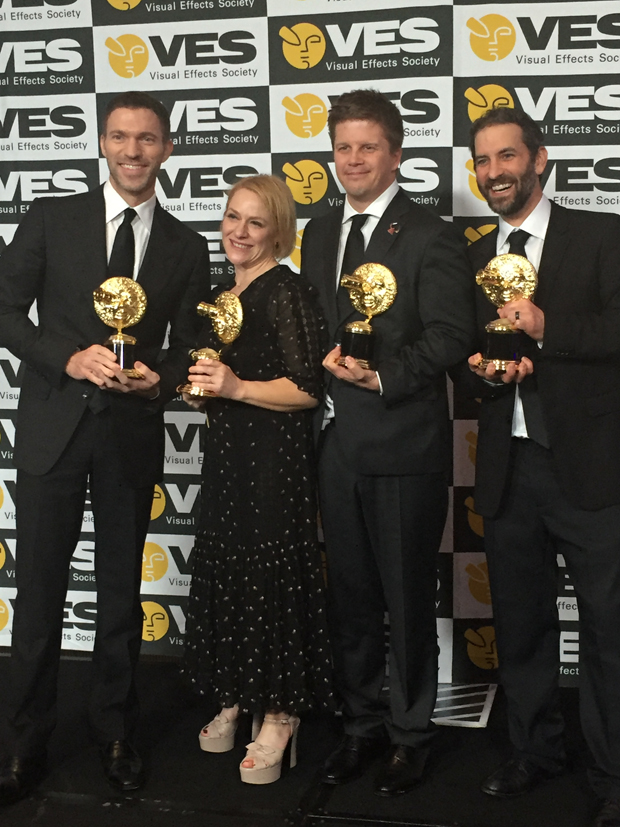 The LAIKA crew Travis Knight Arianne Sutner Steve Emerson and Brad Schiff with their VES Awards for Kubo and the Two Strings