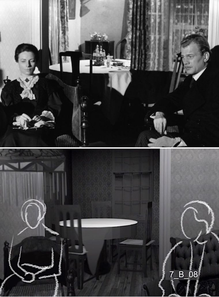 Agnes Moorehead and Joseph Cotten in The Magnificent Ambersons' lost boarding house scene. Below: Screen capture of early animation for a reconstruction of that scene. (Courtesy of Brian Rose)