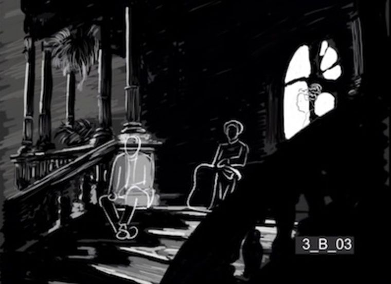 George Minafer, aunt Fanny Minafer and his mother, Isabel Amberson, talk about the rise of automobiles in an animated sequence from a reconstruction of The Magnificent Ambersons. (Courtesy of Brian Rose)