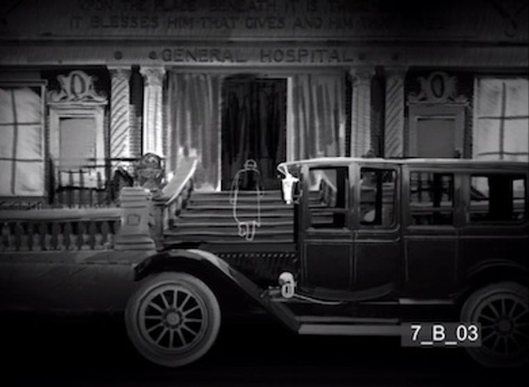 Eugene Morgan arrives at the hospital to visit an injured George Minafer in an animated sequence included in a reconstruction of The Magnificent Ambersons. (Courtesy of Brian Rose)