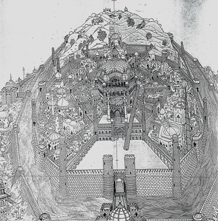 Naisbitt's technical drawing of the Golden City for The Thief and the Cobbler