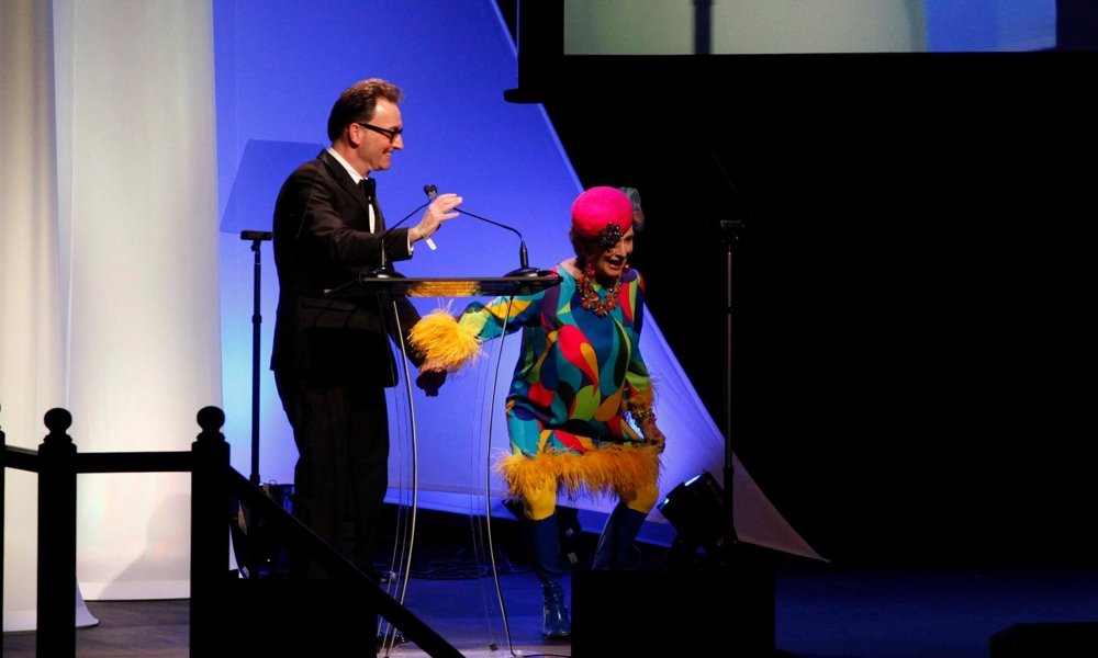 Voice actor Tom Kenny (SpongeBob SquarePants) and the late actress Cloris Leachman entertained audiences at the 41st Annie Awards. [Photo: David Yeh]