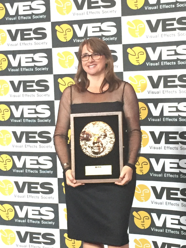 Victoria Alonso with her Visionary Award backstage at the VES Awards