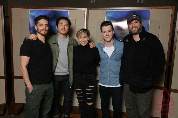 (L-R: Josh Keaton, Steven Yeun, Bex Taylor Klaus, Jeremy Shada, Tyler Labine)  (Lauren Montgomery, Joaquim Dos Santos)