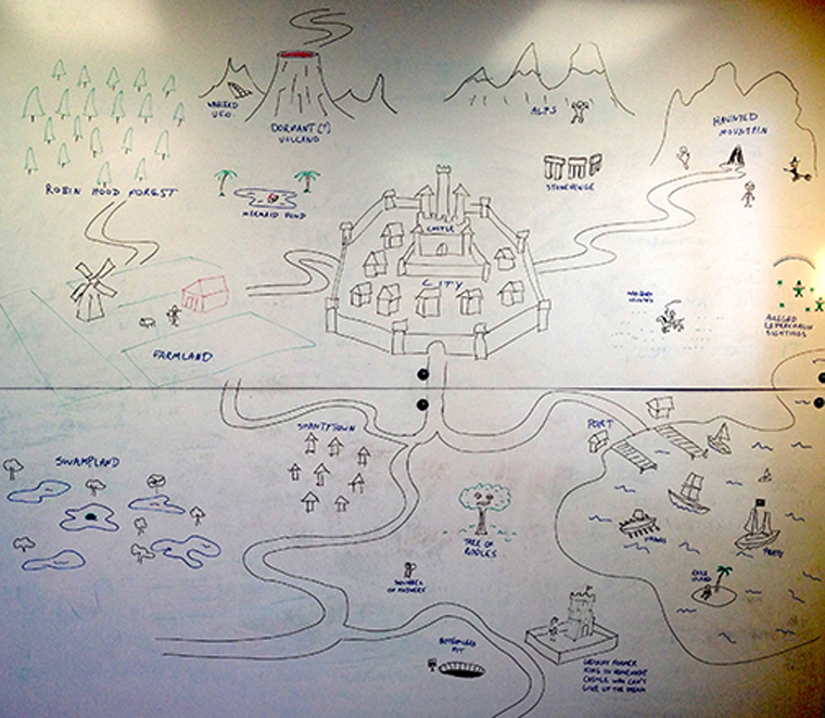 The series creators mapped out the world of Crossing Swords on a giant whiteboard at Stoopid Buddy Stoodios