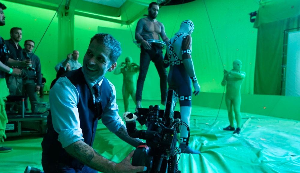 Director Zack Snyder on set during the original filming for Justice League.
